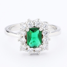 Lady's Silver Plated Flower Shape Emerald Zircon Ring designer jewelry
