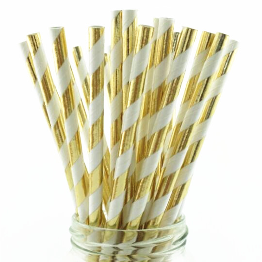 Paper Straws Gold Dot Stripe Wave Star Drinking Straw for Birthday, Wedding, Celebration, Christmas, 100 Pack