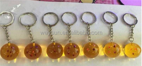 Dragon Ball Z New In Bag 7 Stars Crystal Balls Keychain Pendant 1 2 3 4 5 6 7 star Complete set
