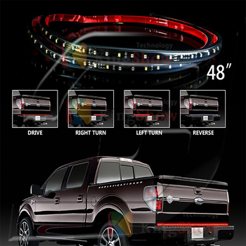 48 LED Red Tailgate LED Light Bar with White Reverse Lights SUV ATV UTV