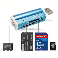 All in 1 USB 2.0 Multi Memory Card Reader Adapter Connector For SD MMC TF M2 Memory Stick MS Duo RS-MMC Retail Packag