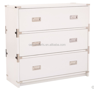 White Lacquer 3 Drawer Chest with Gold Leaf
