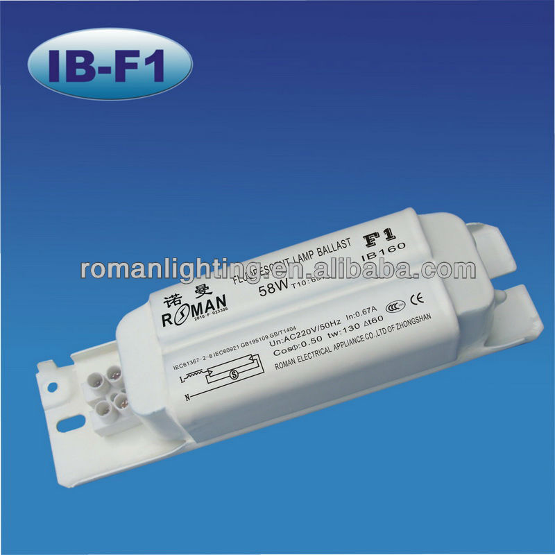 58W/65W CE certificated magnetic ballast for T8 fluorescent lamps