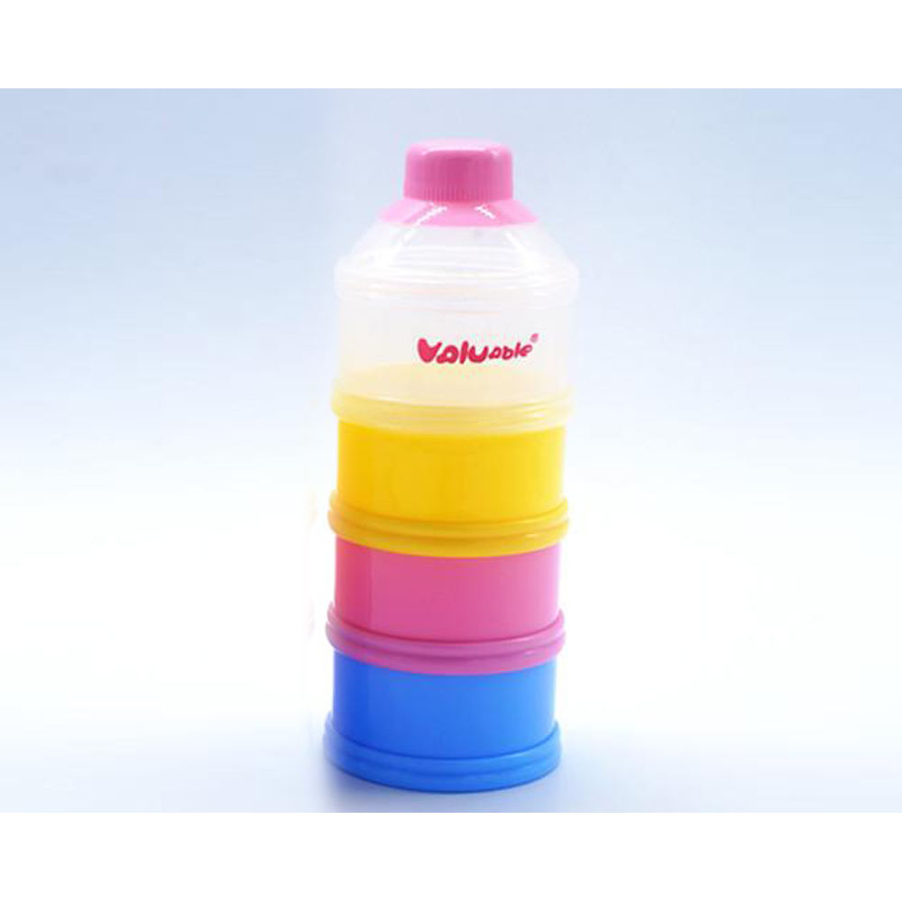 Baby pink useful milk powder box portable baby high-capacity milk powder case with four parts