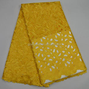 AG3883#10 yellow2017 new Embroidery Swiss Voile Lace / high quality african wedding french lace fabric
