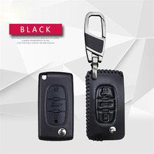 Натуральная кожа чехол для ключей от автомобиля из кожи для Citroen DS3 C1 C3 C5 C4 Xsara Picasso Berlingo C8 для peugeot стильный ключ кольцо чехол Аксессуары(Китай)