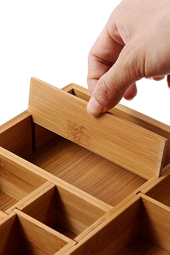 Bamboo kitchen adjustable drawer organizer with removable dividers 7