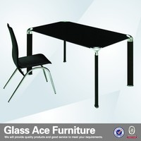 Cheap Black Tempered Glass Dining Table Set