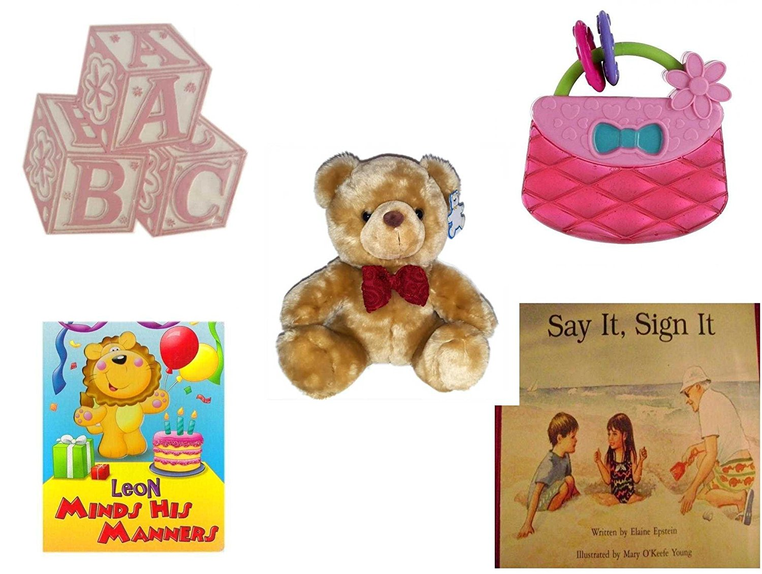 Children's Gift Bundle - Ages 0-2 [5 Piece] - ABC Baby Blocks Cake Topper Pink Girl - Bright Starts Pretty in Pink Carry Teethe Purse - Large Teddy Bear In Bowtie Plush - Leon Minds His Manners Boar
