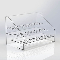 High Transparent Plastic Counter Beauty Tools Retail Display Stand Clear Acrylic Waterproof Mascara Display Stand 24pcs