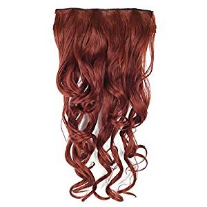 Curly Wave Hairpieces - TOOGOO(R) Women Red Brown Clip In Hairpieces 28""