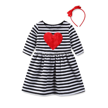 Striped Girls Dress Cotton Boutique Children Clothes Valentine's Day Love Little Girl Dress