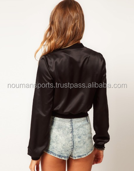 wholesale nylon crop bomber jackets crop satin bomber jackets