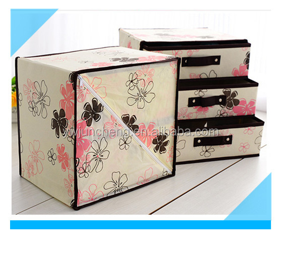 Non Woven 3 Layers 3 Drawers Decorative Cardboard Drawer Storage Box