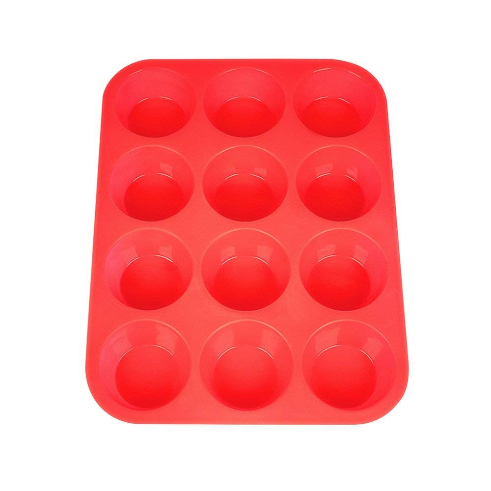 Silicone Muffin Pan Silicone Cupcake Baking Cups, Non Stick 12 Cups Silicone Molds(Red)