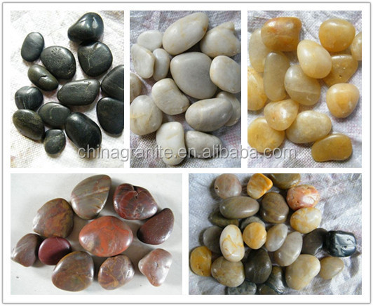 polished black natural pebble stones for landscaping