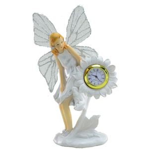 Indoor polyresin fairy statue with clock