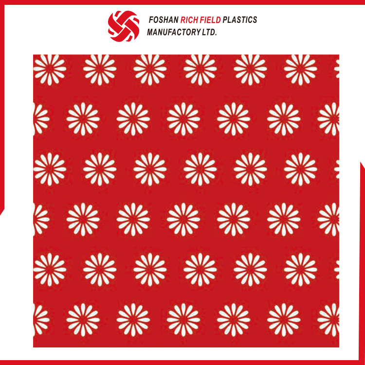 Customized Cheap Red Flower Pattern Opaque Red Tablecloth