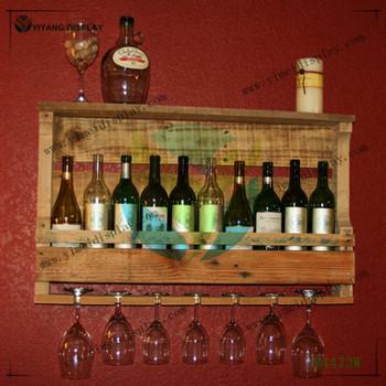 Wood Wall Wine Rack Rustic Wine Rack With Wine Glasses Holder