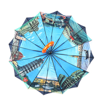 RST 16K double layer umbrella heat transfer print umbrella high quality strong windproof straight umbrella