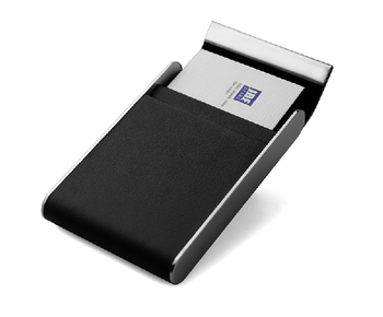 magnetic metal pu leather name id card case leather business card holder - Magnetic Card Holder
