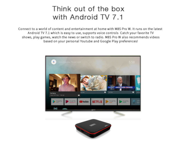 Amlogic S905W android tv box m8s pro W ATV 2G 16G ott tv box with tv android 7.1 voice air mouse HDD player