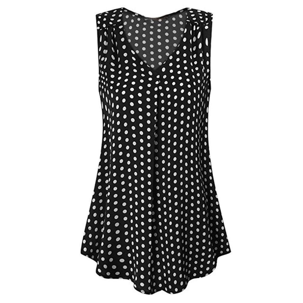 GOVOW Women's Summer Vintage Sleeveless V Neck Pleated Chiffon Polka Dot Tank Top Vest
