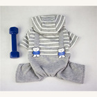 New Winter Dog Clothes Pet Stripy overalls Four Leg Jumpsuit Clothing