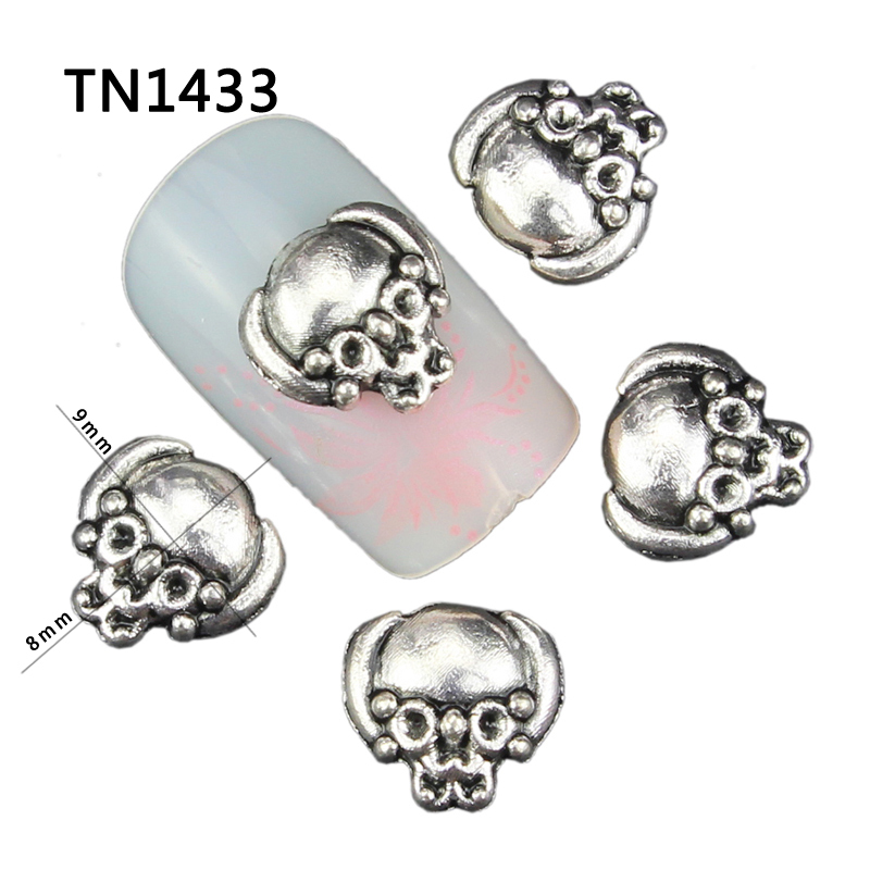10Pcs Gold Silver Black Alloy Skull Design Manicure Tools For Charms Nails Glitter 3D Nail Art