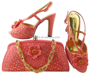 SH068-4 Latest italian shoes and bag sets peach color /matching shoes and bags stones ronament