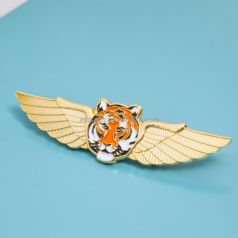 promotional tiger head with angel wings pin gold plating metal badge