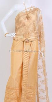 Cream Gold 2 Thai Traditional Dress Thai National Costume Thai