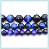 Wholesale Top Grade Natural Deep Blue Tiger Eye Semi Gem Stone Beads For Jewelry Making DIY Bracelet Necklace