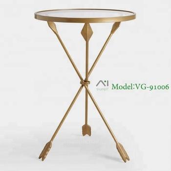 Triumph Gold Metal Arrow Leg And Temper Gl Top Accent Table Antique Bedside