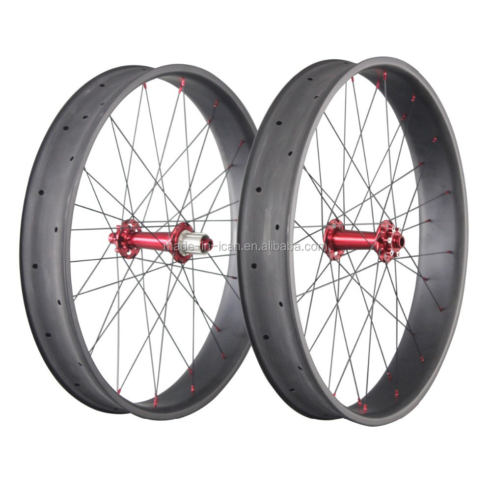 Carbon Fat Bike Wheel Set Powerway Red Hub Fat Bike Wheels China ...