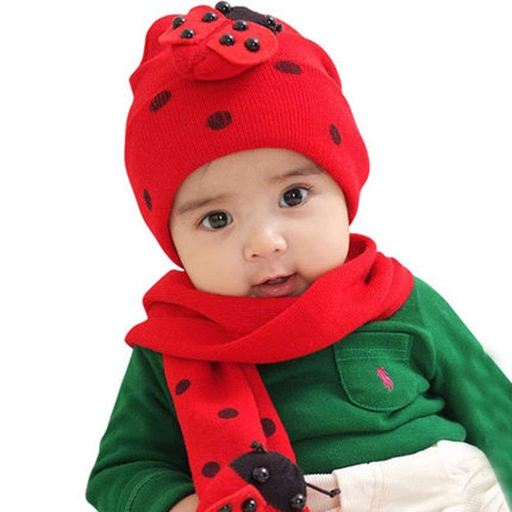 8c511e13507 Get Quotations · Yonger Robot Infant Baby Toddler Kid Hat Knitted Crochet  Beanie Cap Scarf Set