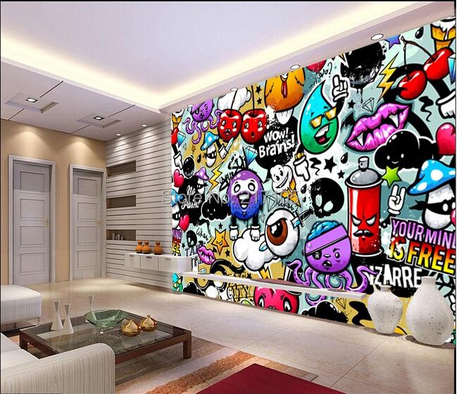 Bedroom Wall Art Graffiti: Aliexpress.com : Buy Custom Baby Wallpaper Colorful
