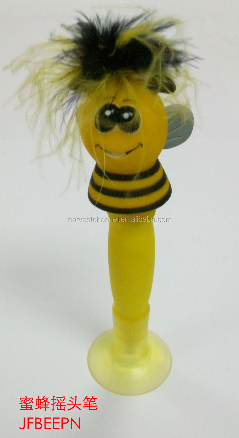 2015 New design promotional bee bobble head pen
