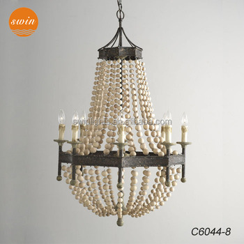 New american country style wood beads chandelier lighting wrought new american country style wood beads chandelier lighting wrought iron antique classic pendant lamp in china mozeypictures Image collections