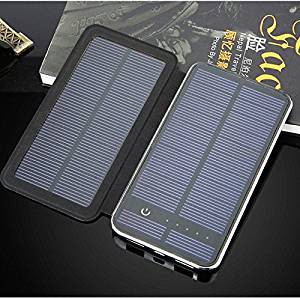 iMeshbean Solar Charger, Solar External Battery Pack, Portable Solar Power Bank Backup Phone Charger 10,000mAh Dual USB Two Folding Solar Panel Battery Charger for Phones, Tablets Black (Two Panel)
