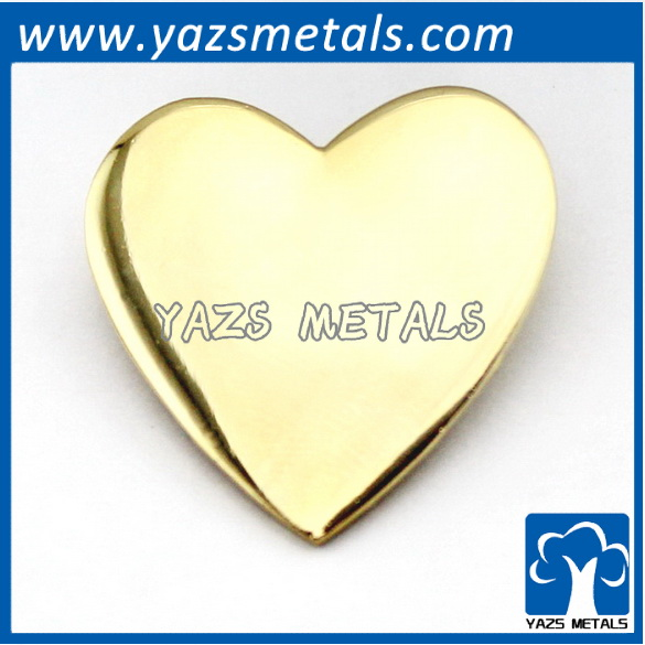 custom made gold/silver plating heart pin badge