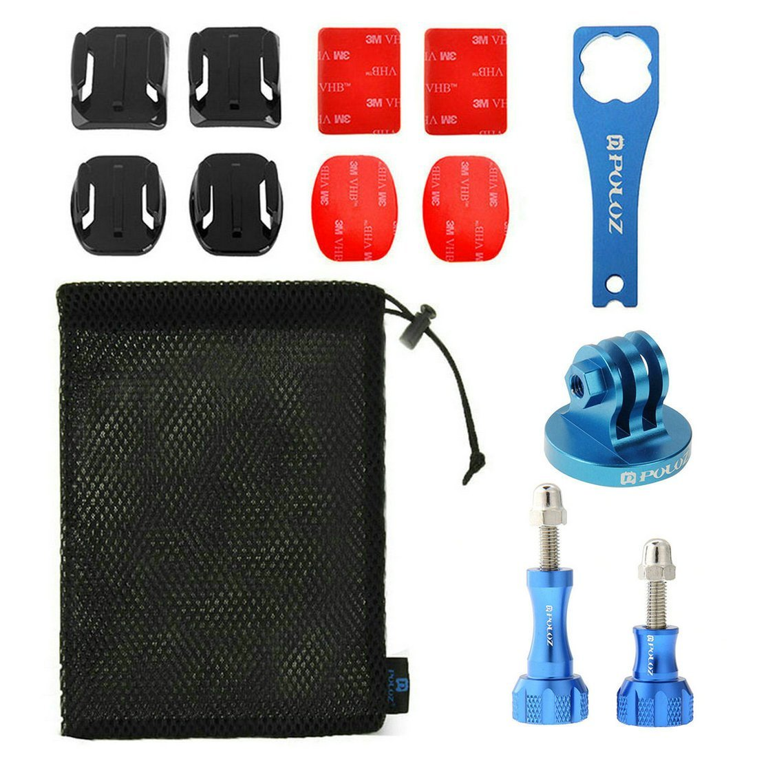 PULUZ 13 in 1 CNC Metal Accessories Combo Kits (Screws + Surface Mounts + Tripod Adapter+ Storage Bag + Wrench) for GoPro HERO6/5/5 Session/4 Session/4/3+/3/2/1, Xiaoyi and Other Action Cameras