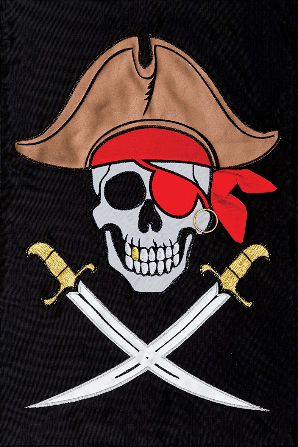 """ PIRATE "" - Garden Size, 12 Inch X 18 Inch, Decorative Double Sided Applique Flag EMBROIDERED, License, Copyrights, Trademark by Custom Decor Inc."