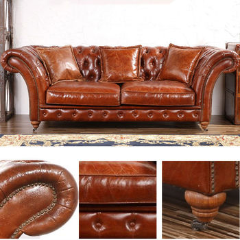 Barrington 3 S Vintage Leather Chesterfield Sofa In Antiqued Style