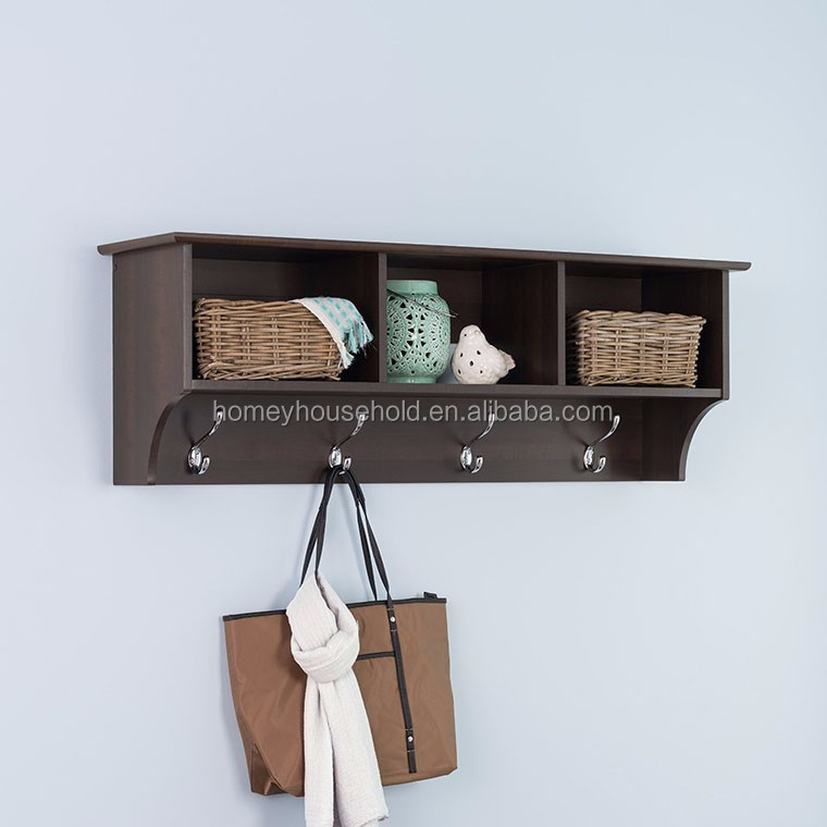 Simple design multifunction decorative natural wooden white wall shelf