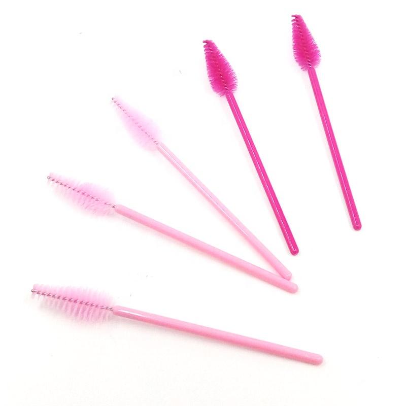 Colorful Disposable Eyelash Mascara Brush New Shape Nylon Makeup Brush Eyelash Extension Brush, Blue/yellow/pink/black /red/purple
