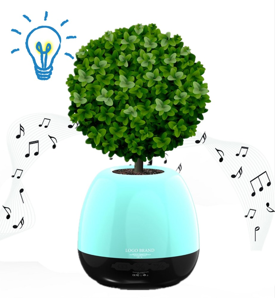 Gift intelligent touch sensitive lcd flower vase pot small plastic music plant pot with bluetooth speaker