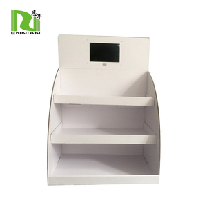 "Counter top Cardboard Shelving with 7"" Digital Display stand"