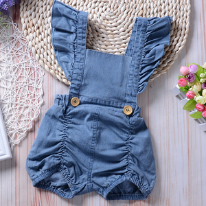 Hot Selling Baby Rompers New Fashion Baby Girls Clothes Summer Blue Denim Infant Rompers