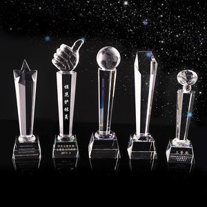 Manufacturer custom big small blank crystal glass trophy award